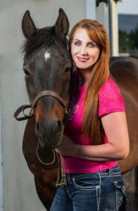 Sue Halliburton with Quarter Horse gelding, Scooter